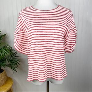 BOGO LOFT Red White Striped Petal Sleeve Top Small